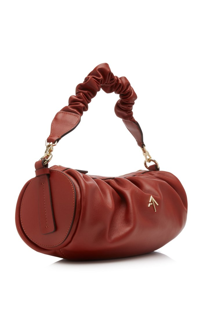 Cylinder Ruched Leather Shoulder Bag