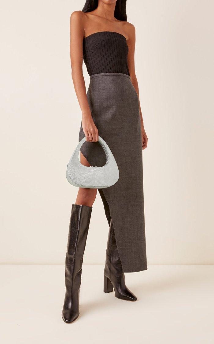 Swipe Lizard-Effect Leather Baguette Bag
