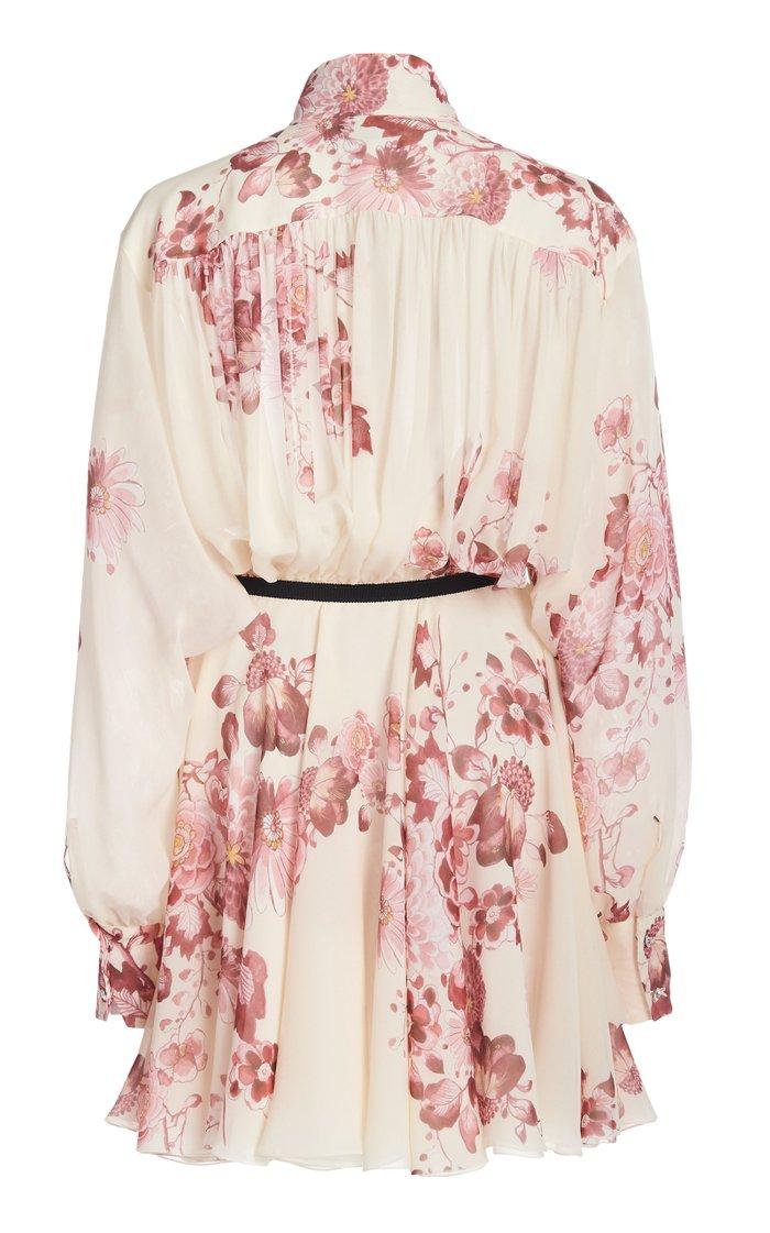 Belted Floral-Print Silk Georgette Mini Shirt Dress