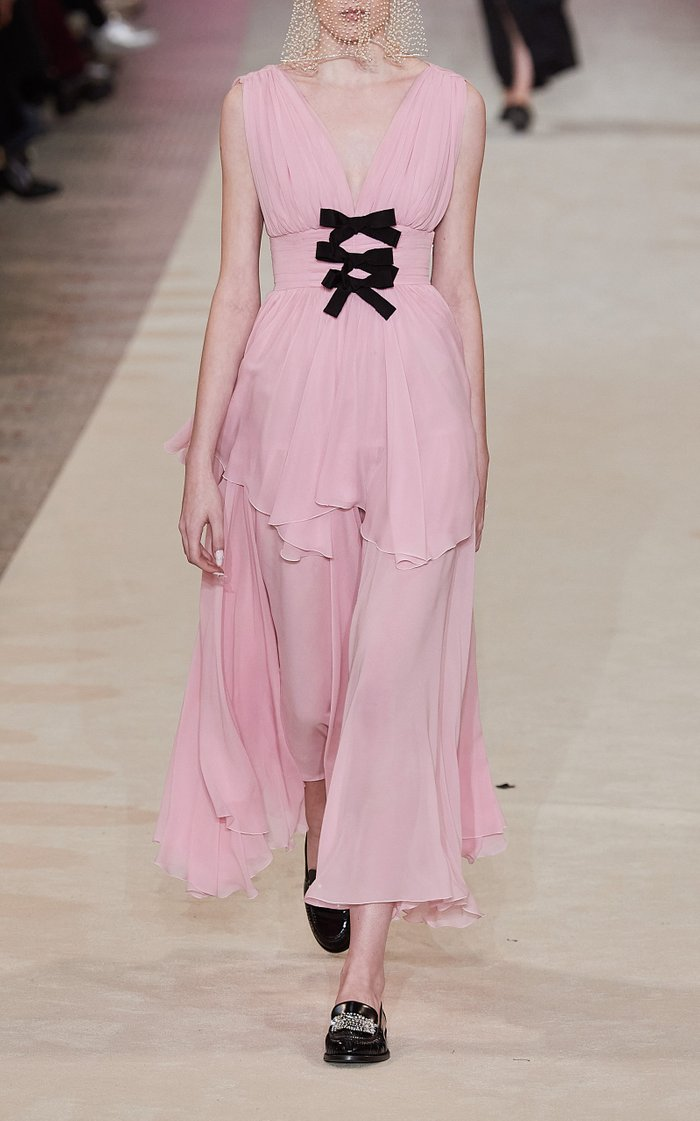 Bow-Detailed Silk Georgette Midi Dress