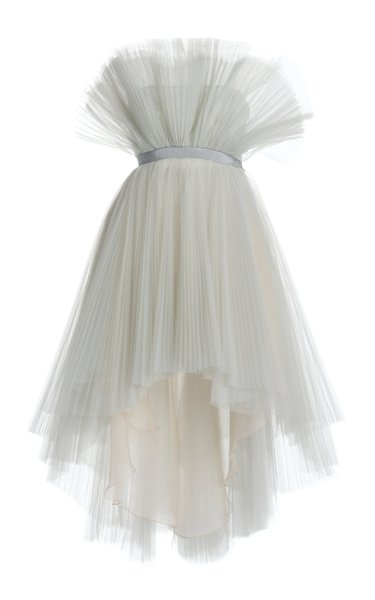 Plissé Tulle High-Low Strapless Mini Dress