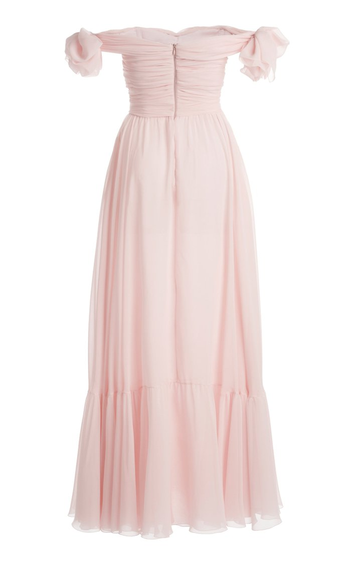 Ruched Silk Georgette Off-The-Shoulder Gown