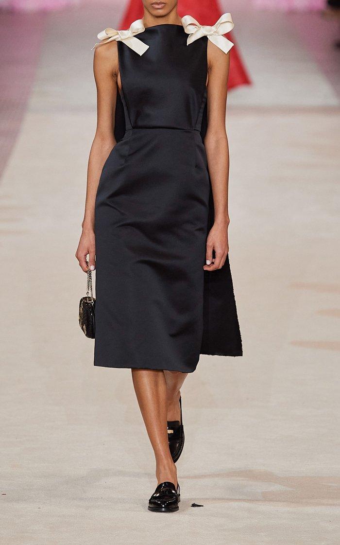 Cape-Embellished Satin Midi Dress