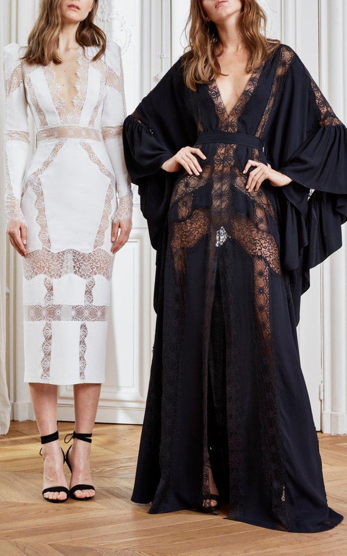 Lace-Trimmed Cady Midi Dress