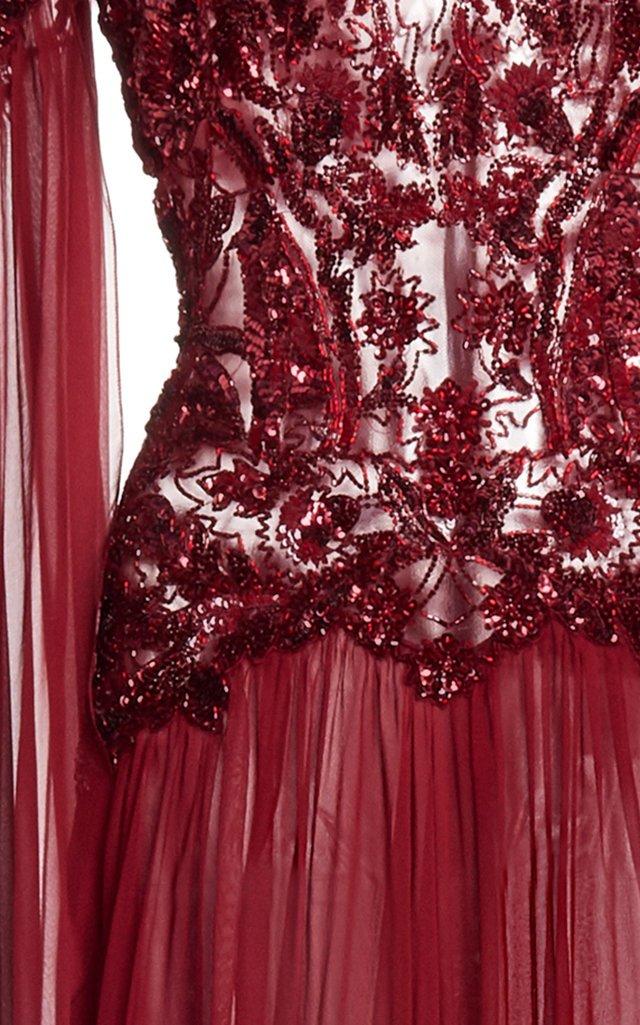 Embellished Silk-Chiffon Flared Dress
