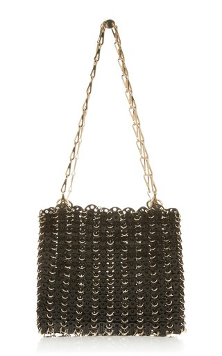 1969 Onyx Chain Link Brass Shoulder Bag