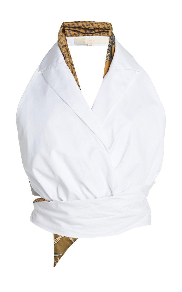 Gathered Cotton Wrap Top