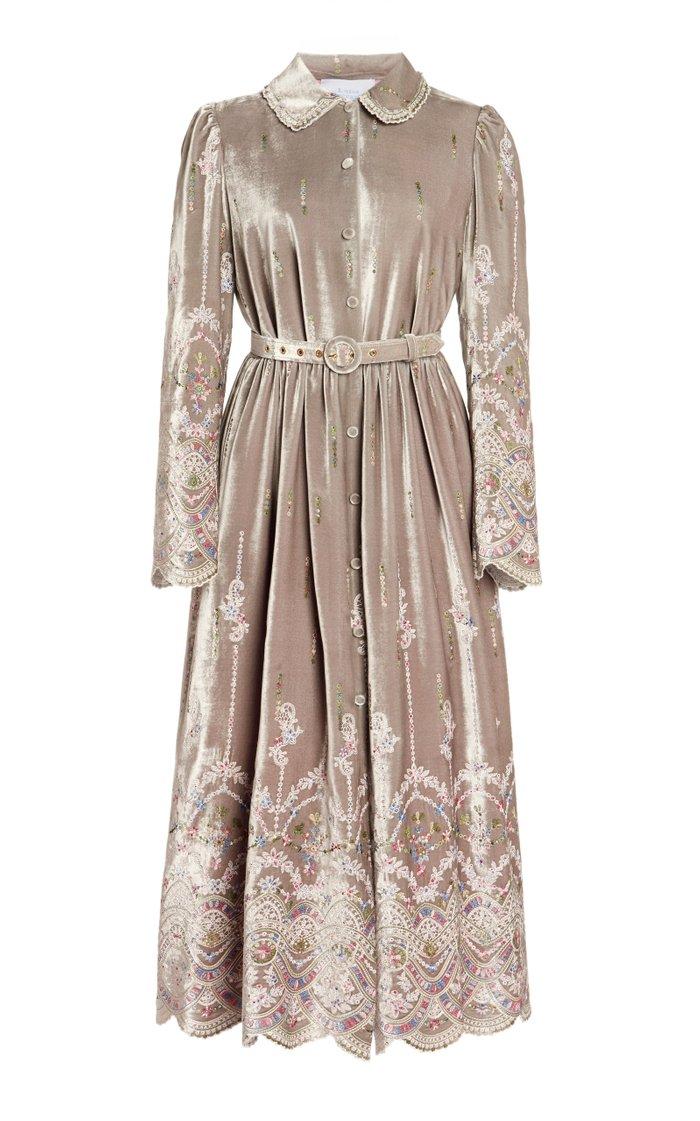 Belted Embroidered Velvet Shirt Dress