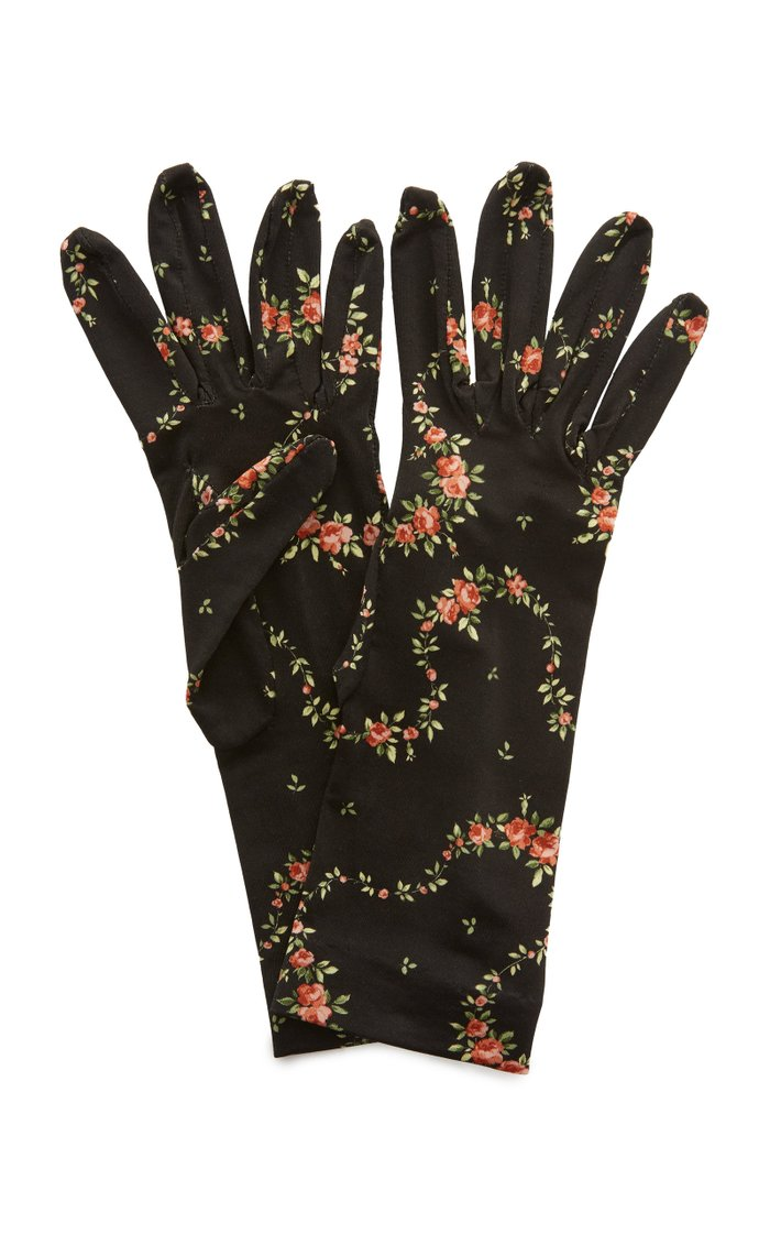Floral-Printed Jersey Gloves