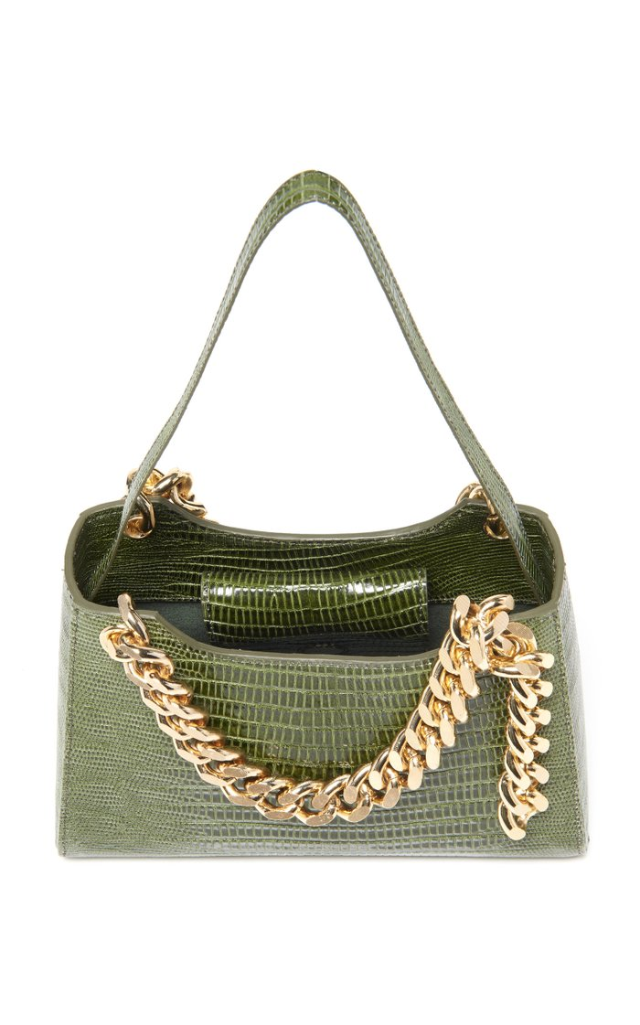 Small Maxine Lizard-Effect Leather Top Handle Bag