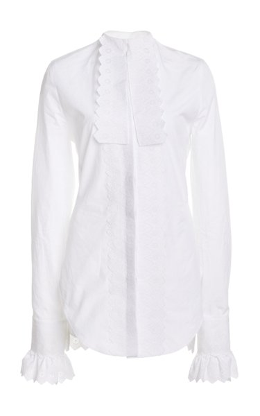 Lace-Trimmed Cotton Poplin Tuxedo Shirt