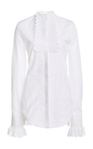 Lace-Trimmed Cotton Poplin Tuxedo Shirt