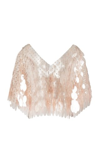 Clear Paillette-Embellished Chainmail Cape Top