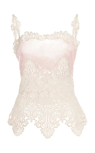 Sequin-Embellished Lace Top