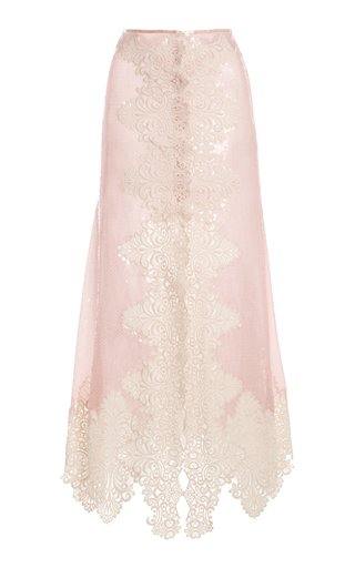 Lace-Detailed Sequined Midi Skirt