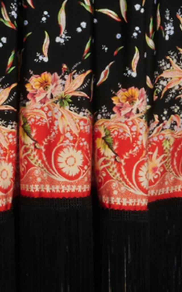 Fringe-Trimmed Printed Stretch-Jersey Maxi Dress