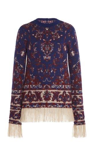 Fringe-Trimmed Wool Jacquard Crewneck Sweater