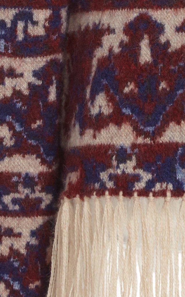 Fringe-Trimmed Wool Jacquard Turtleneck Sweater