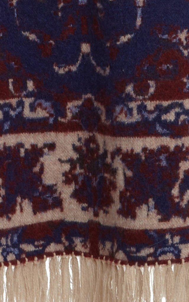 Fringe-Trimmed Wool Jacquard Maxi Skirt
