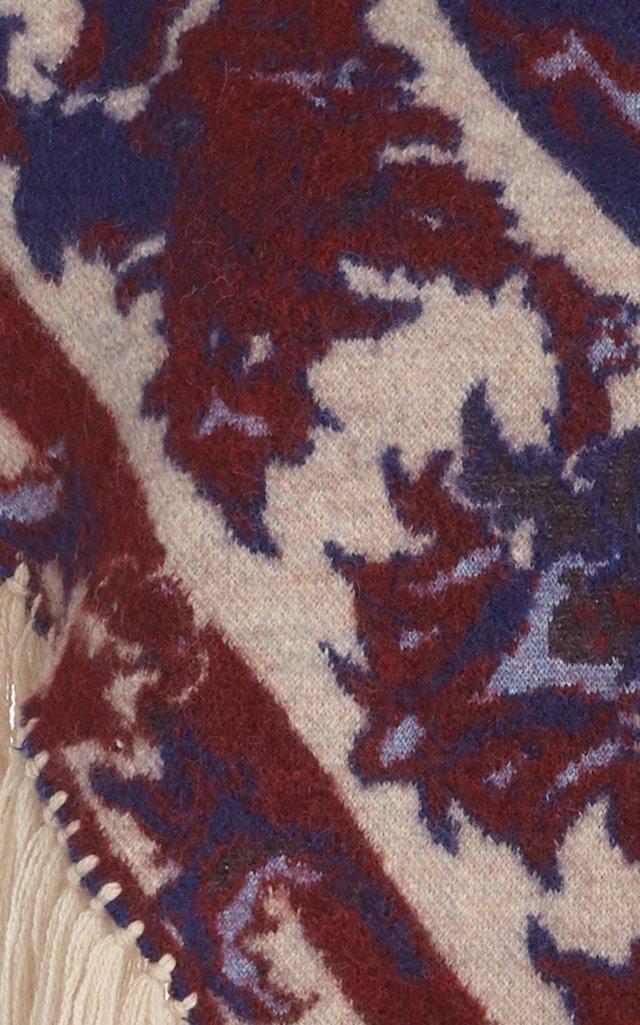 Fringe-Trimmed Wool Jacquard Hooded Capelet