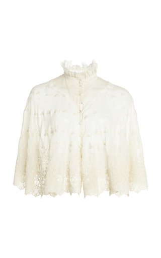 Lace-Trimmed Embroidered Silk Georgette Cape Top