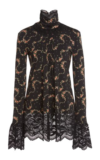 Lace-Trimmed Floral Stretch-Jersey Top