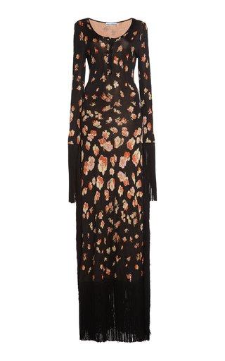Fringe-Trimmed Floral Cotton-Blend Jacquard Maxi Dress