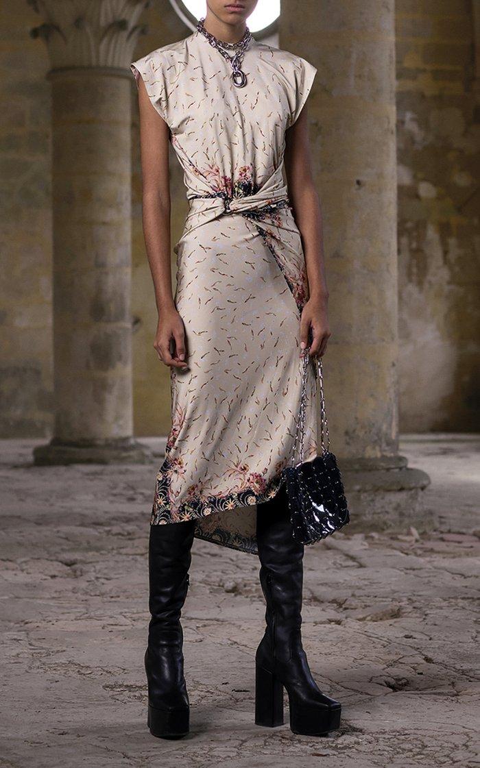 Printed Stretch-Crepe Wrap-Effect Midi Dress