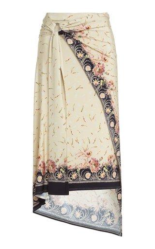 Asymmetric Printed Stretch-Crepe Midi Skirt
