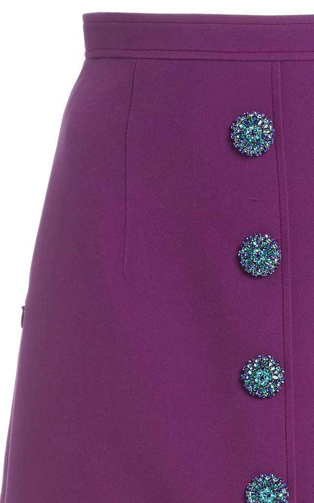 Crystal-Embellished Cady Midi Skirt