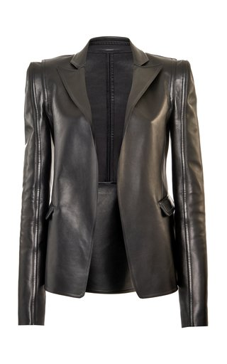 Structured Leather Open-Front Blazer