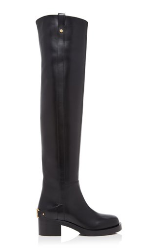 Valentino Garavani V-Troop Over-The-Knee Leather Boots