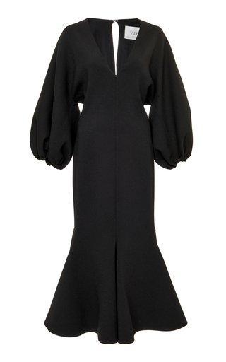 Puffed-Sleeve Wool-Blend Dress