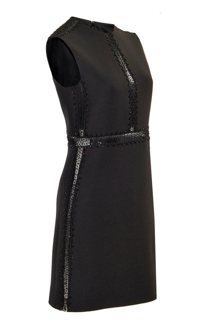Embroidered Wool-Silk Mini Dress