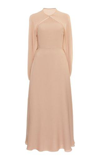 Cape-Effect Silk Midi Dress