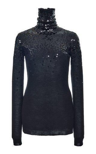 Sequin-Embellished Wool Turtleneck Top