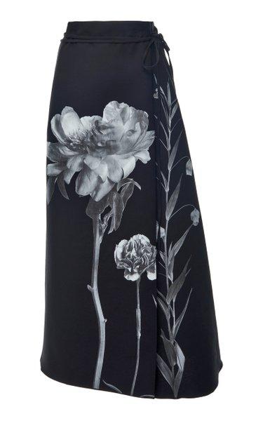 Printed Wrap-Effect Wool-Silk Skirt