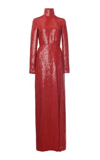 Glitter-Embellished Silk Turtleneck Gown