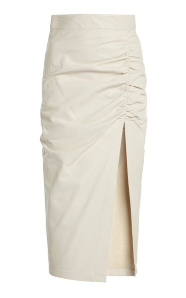Ruched Leather Midi Skirt