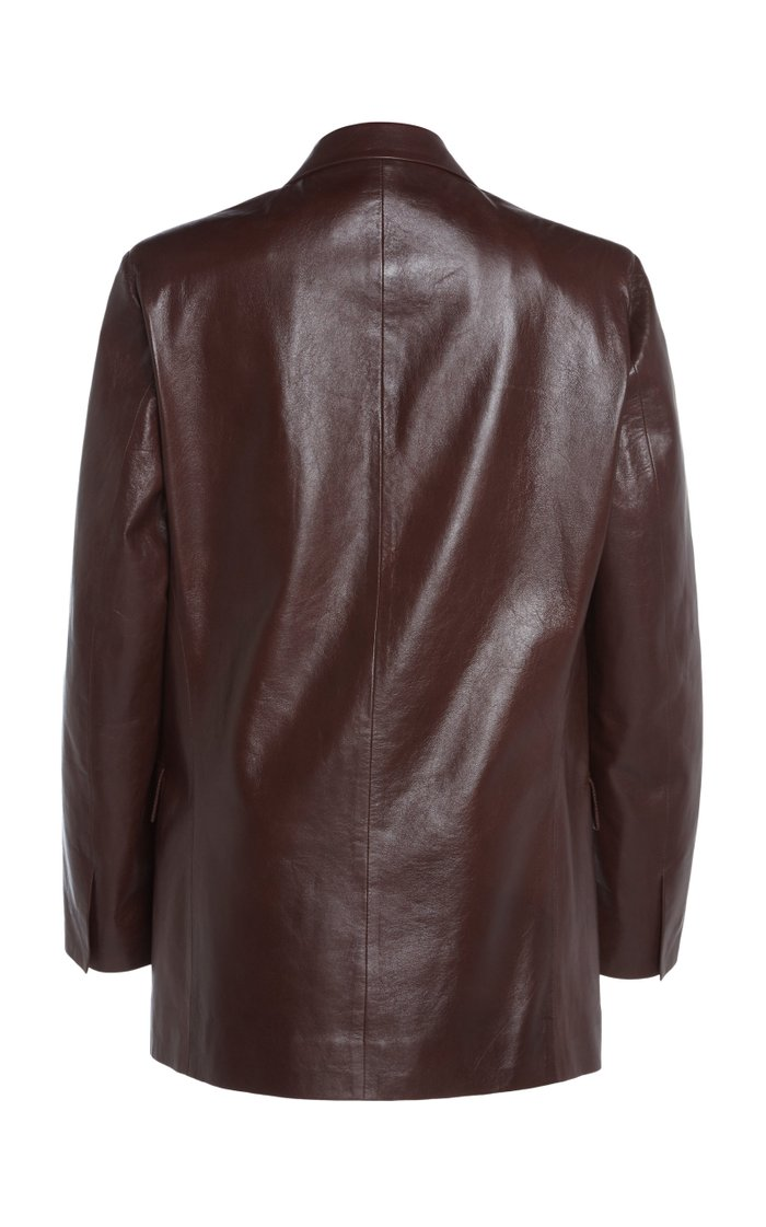 Gem Leather Double-Breasted Blazer