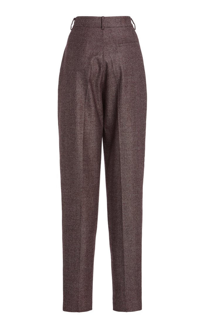Pleated Tweed Straight-Leg Pants