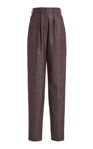 Pleated Tweed Straight-Leg Pants