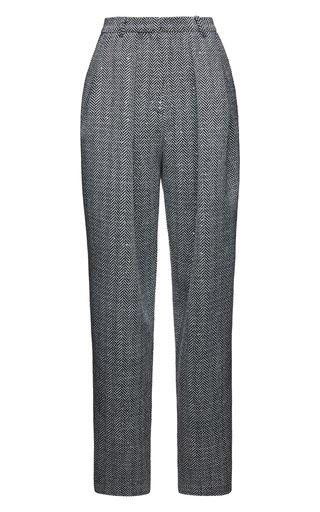 Herringbone Cashmere-Blend Pants