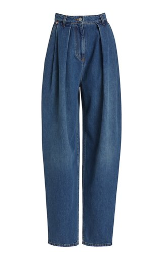 Pleated Rigid High-Rise Tapered-Leg Jeans