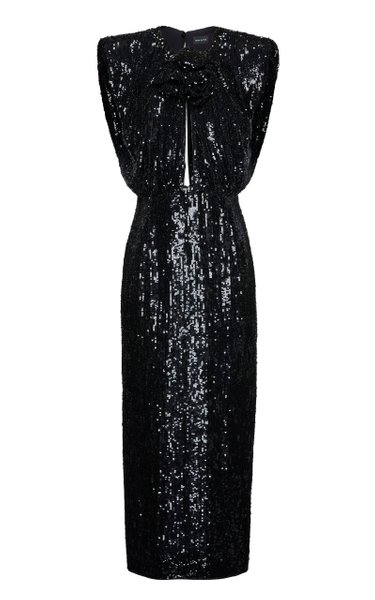 Cutout Sequined Midi Dress