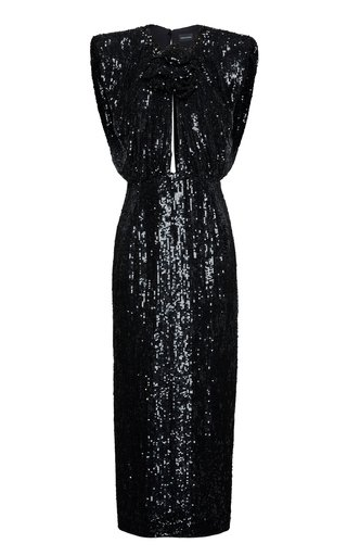 Cutout Sequined Midi Dress