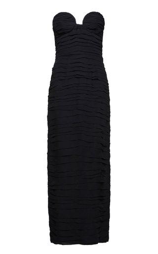 Ruched Silk A-Line Midi Dress
