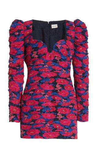 Floral-Print Ruched Silk Mini Dress