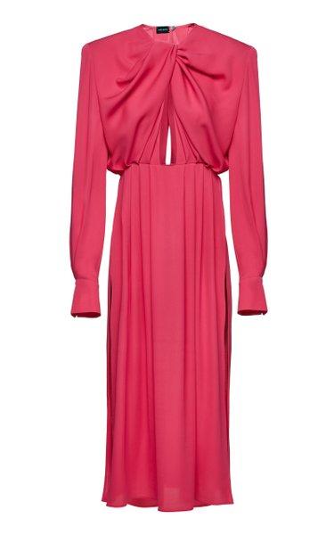 Cutout Silk Midi Dress