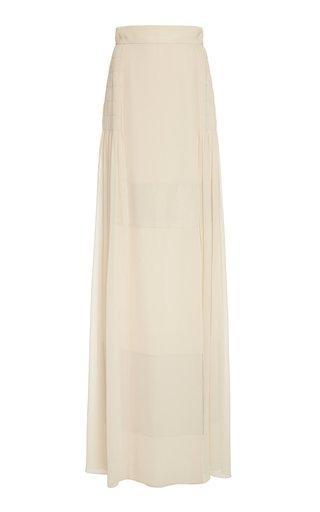 Draped Silk-Georgette Maxi Skirt